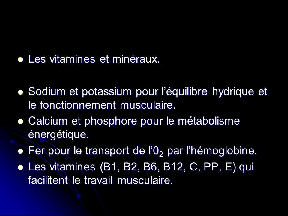 Les vitamines et minéraux.