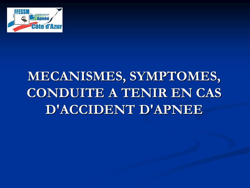 MECANISMES, SYMPTOMES, CONDUITE A TENIR EN CAS D ACCIDENT D APNEE
