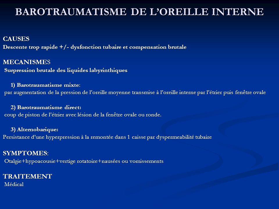 BAROTRAUMATISME DE L'OREILLE INTERNE