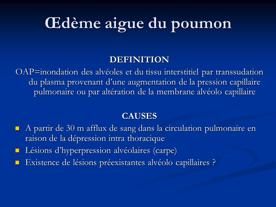 Œdème aigue du poumon DEFINITION