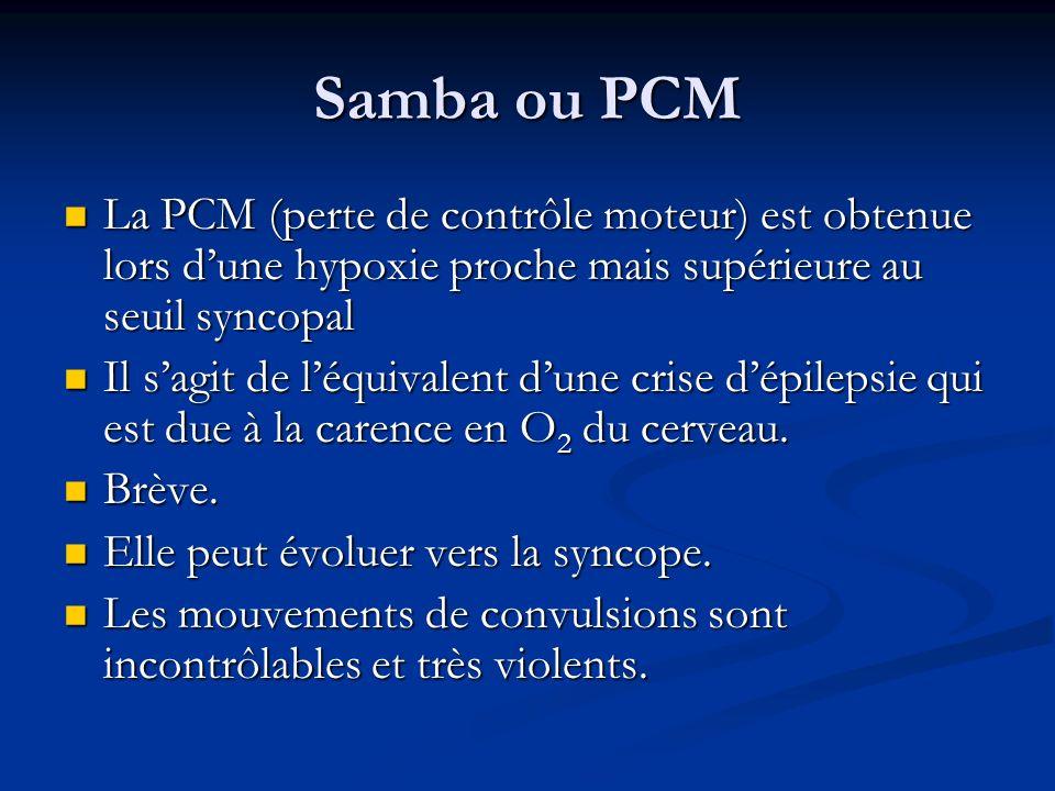 Samba ou PCMLa PCM (perte de contrôle moteur) est obtenue lors d'une hypoxie proche mais supérieure au seuil syncopal.