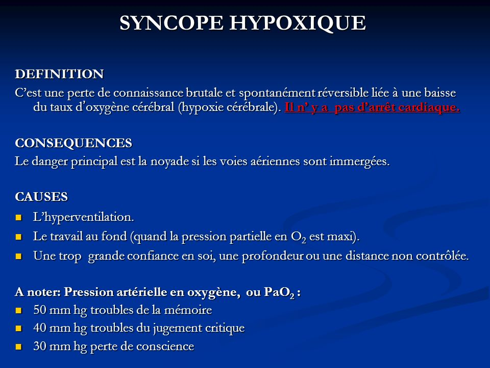 SYNCOPE HYPOXIQUE DEFINITION