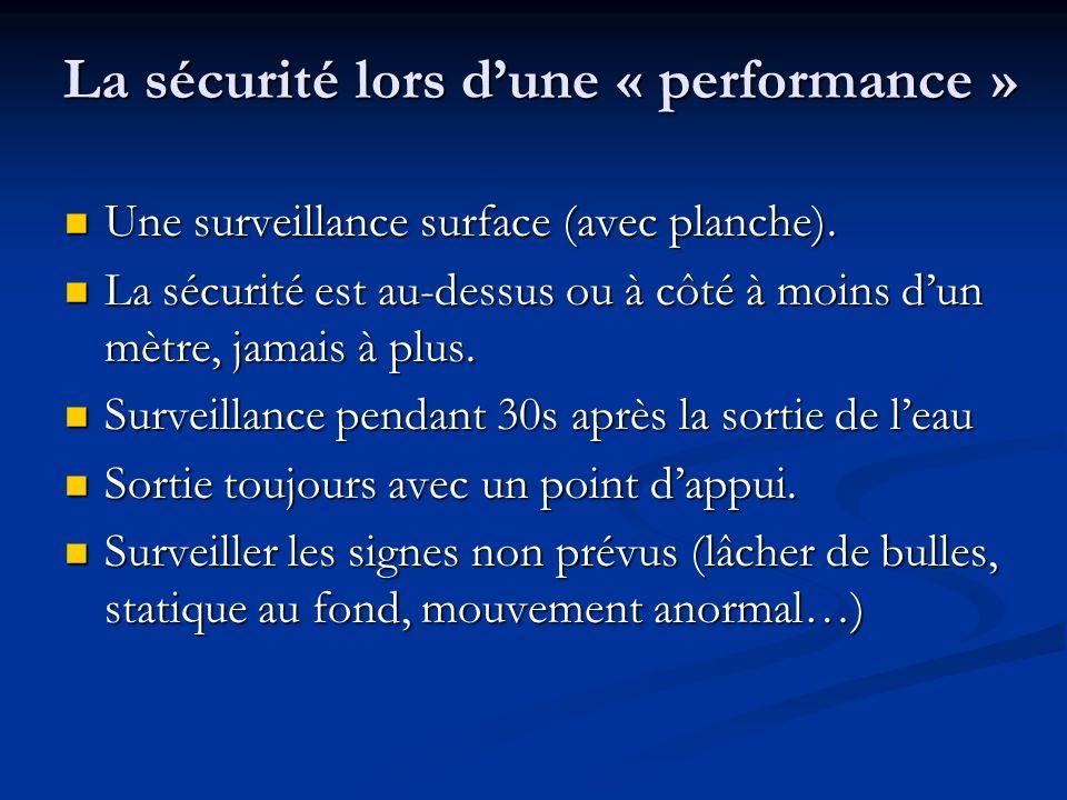 La sécurité lors d'une « performance »