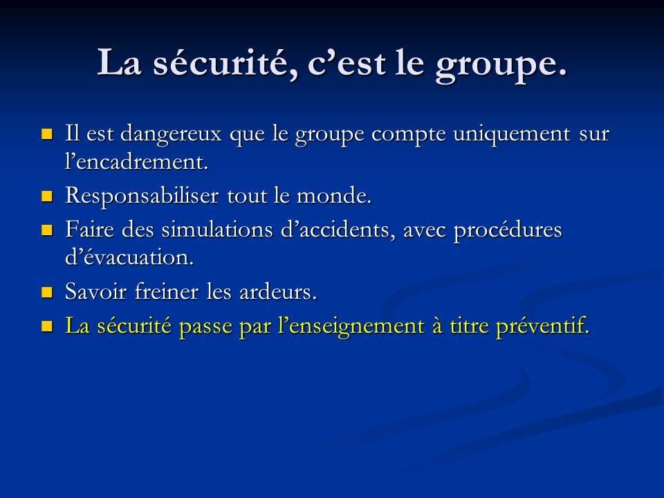 La sécurité, c'est le groupe.