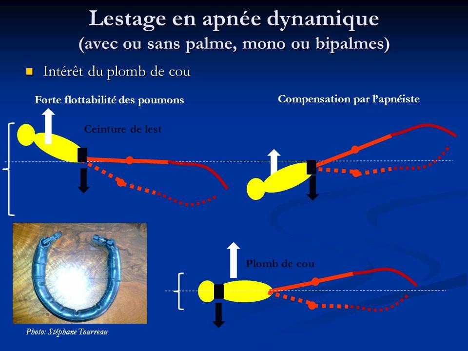 Lestage en apnée dynamique (avec ou sans palme, mono ou bipalmes)