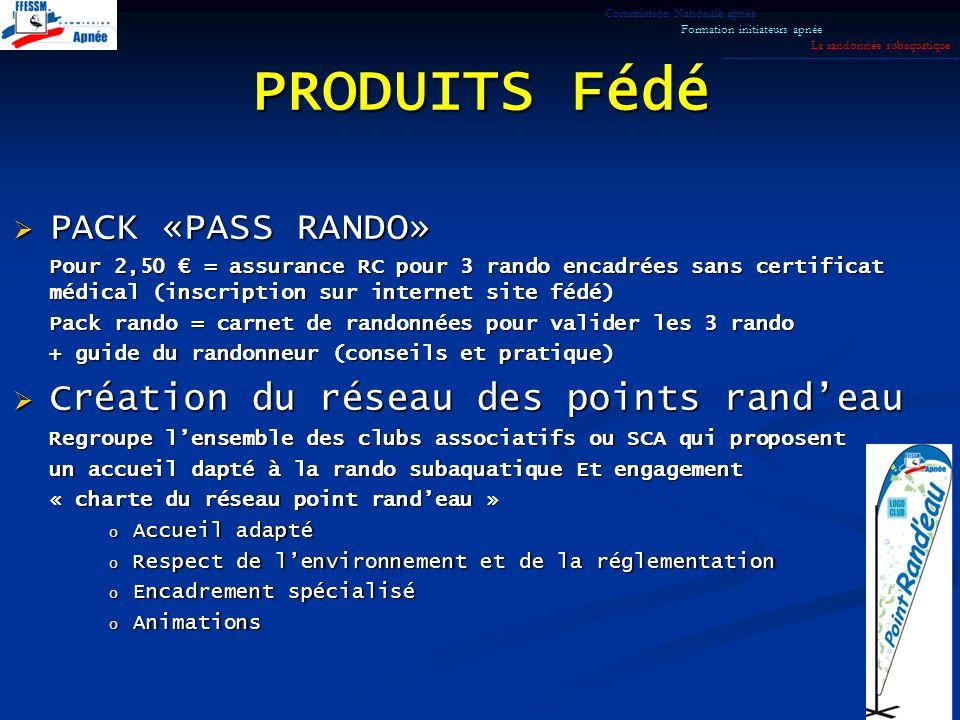 PRODUITS Fédé PACK «PASS RANDO» Création du réseau des points rand'eau
