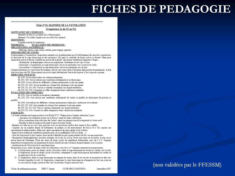 FICHES DE PEDAGOGIE (non validées par le FFESSM)