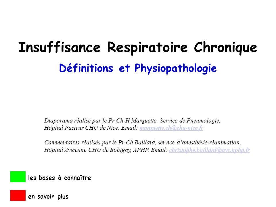 Insuffisance Respiratoire Chronique Définitions et Physiopathologie