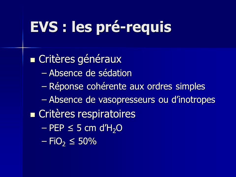 EVS : les pré-requis Critères généraux Critères respiratoires