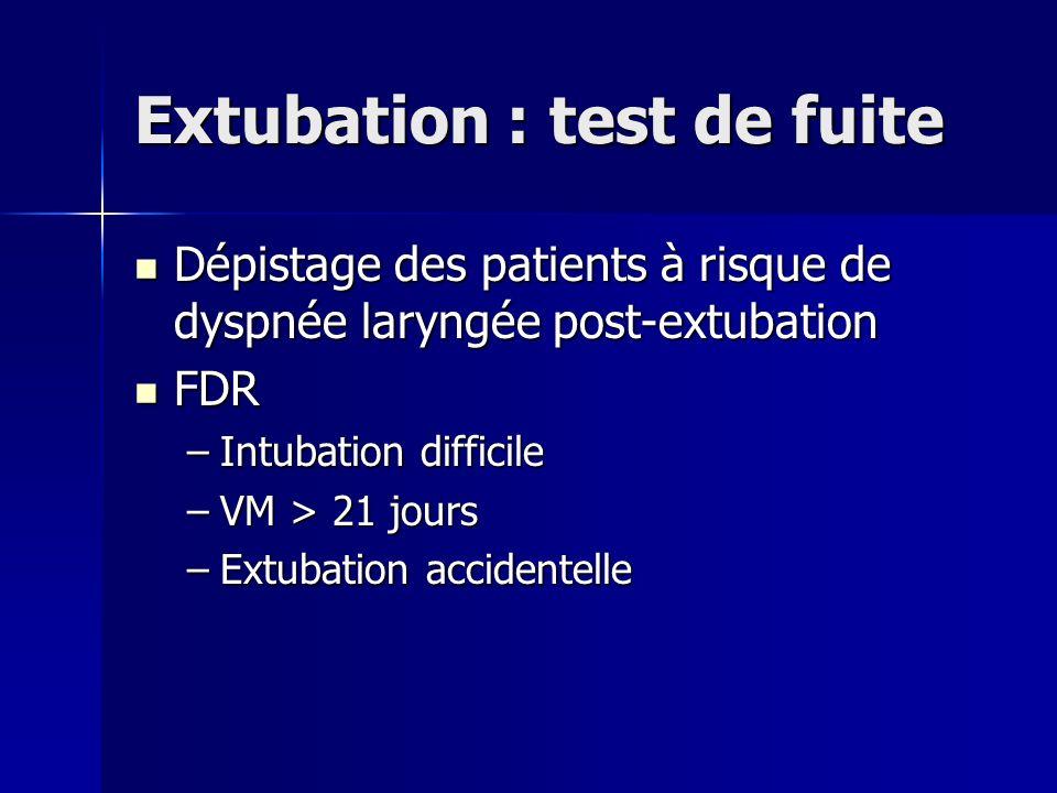 Extubation : test de fuite