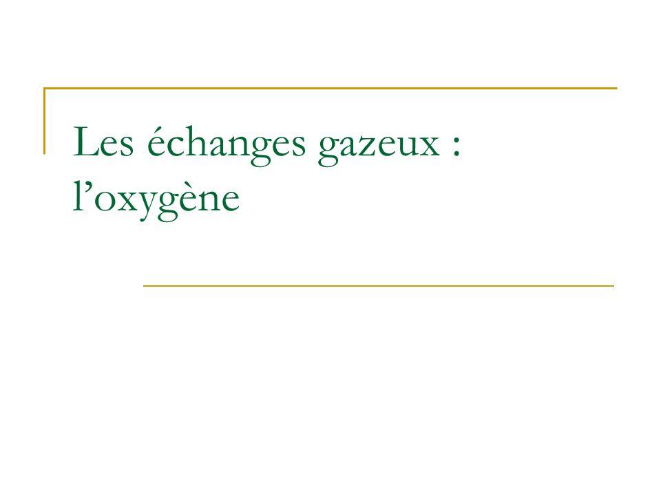 Les échanges gazeux : l'oxygène