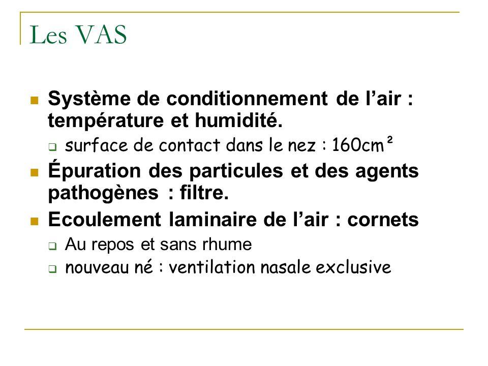Les VAS Système de conditionnement de l'air : température et humidité.