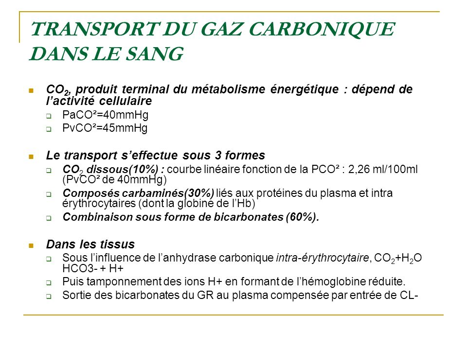 TRANSPORT DU GAZ CARBONIQUE DANS LE SANG