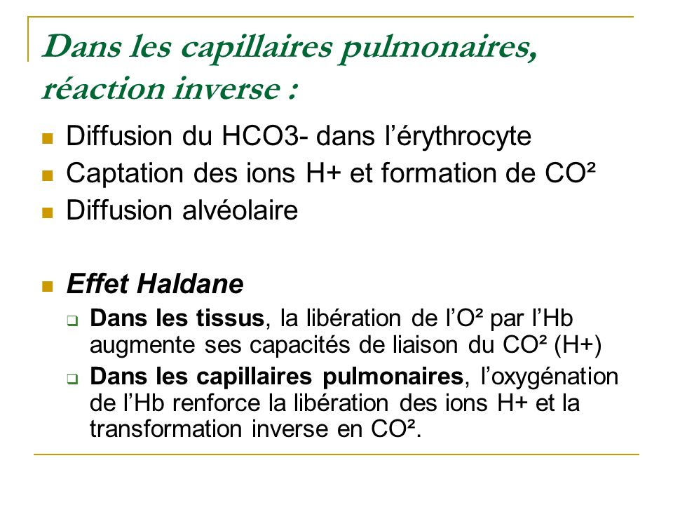 Dans les capillaires pulmonaires, réaction inverse :