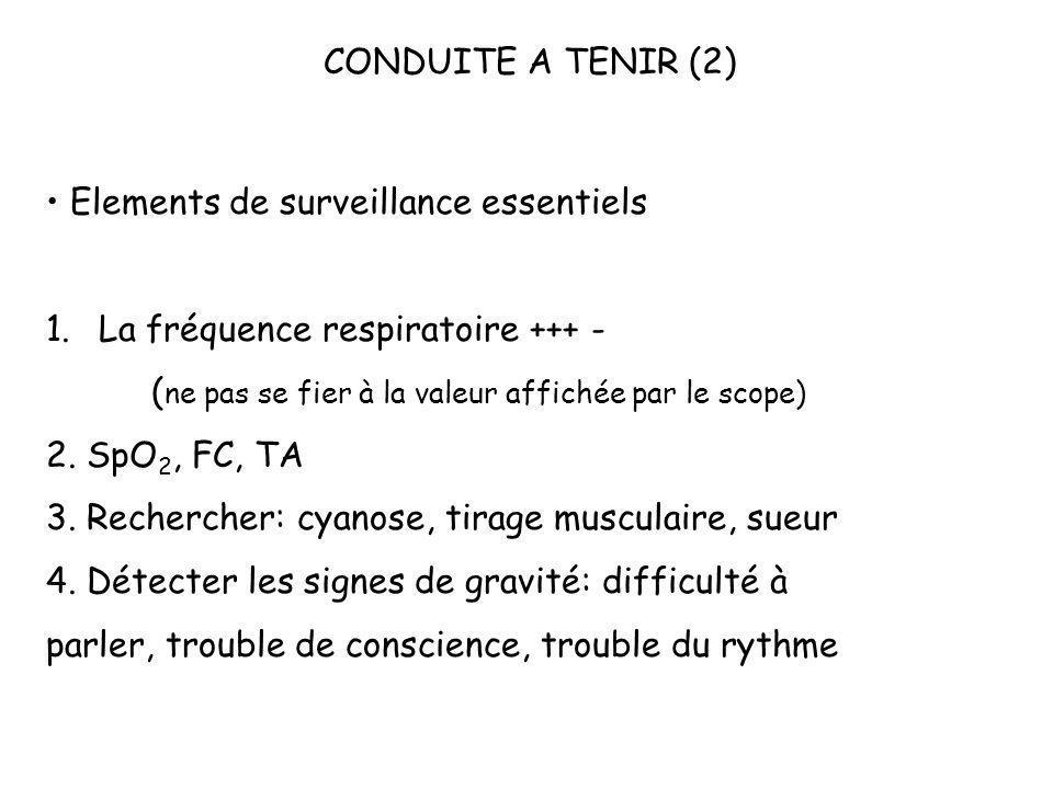 CONDUITE A TENIR (2)• Elements de surveillance essentiels. La fréquence respiratoire +++ - (ne pas se fier à la valeur affichée par le scope)