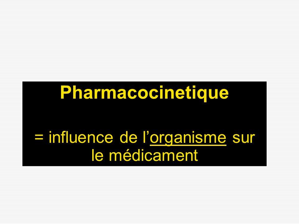 = influence de l'organisme sur le médicament