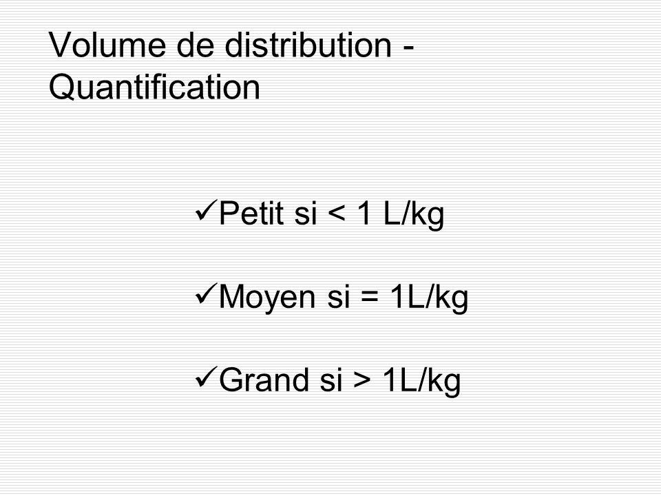 Volume de distribution - Quantification