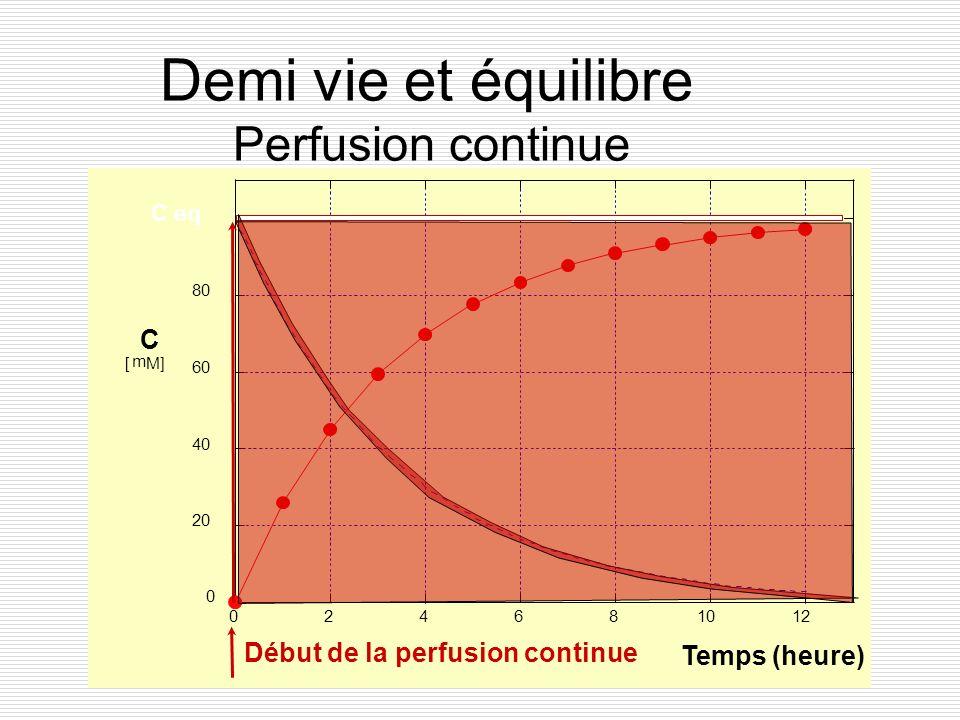 Demi vie et équilibre Perfusion continue C