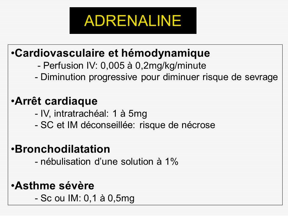 ADRENALINE Cardiovasculaire et hémodynamique Arrêt cardiaque