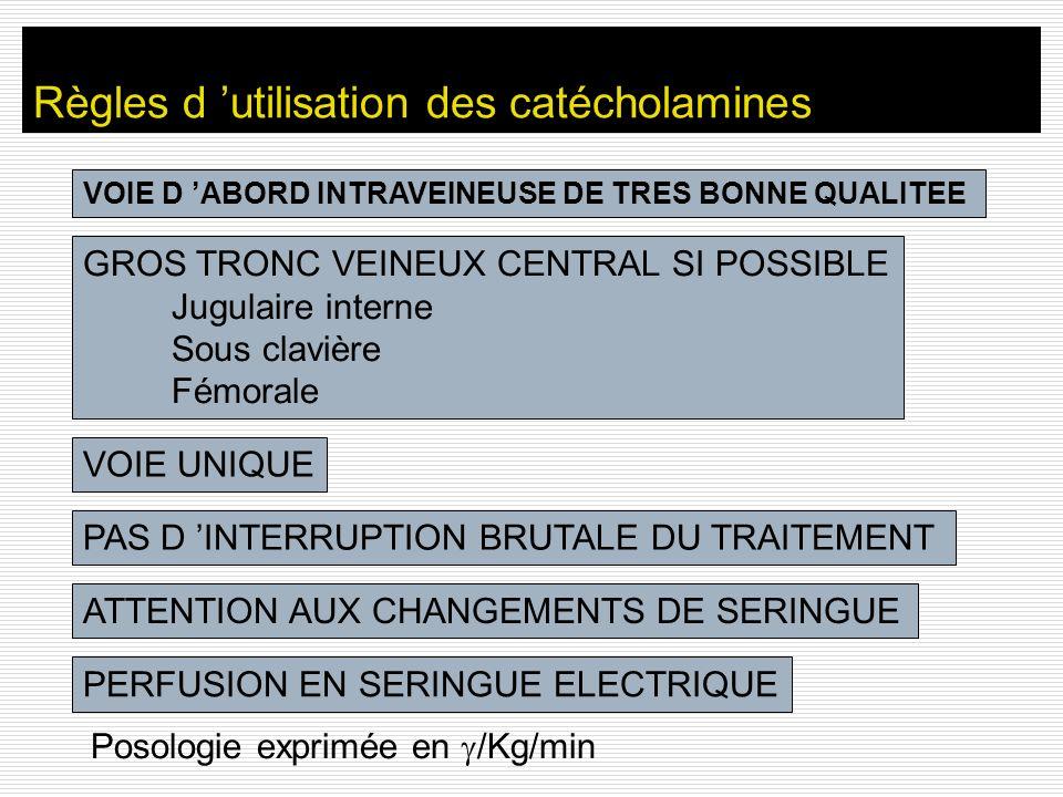 Règles d 'utilisation des catécholamines