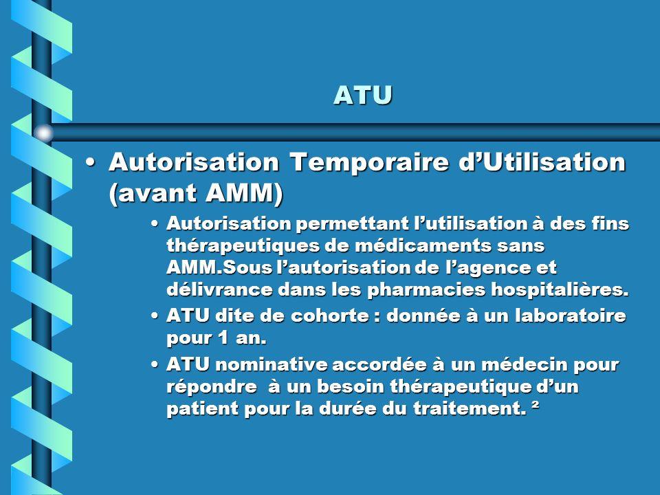 Autorisation Temporaire d'Utilisation (avant AMM)