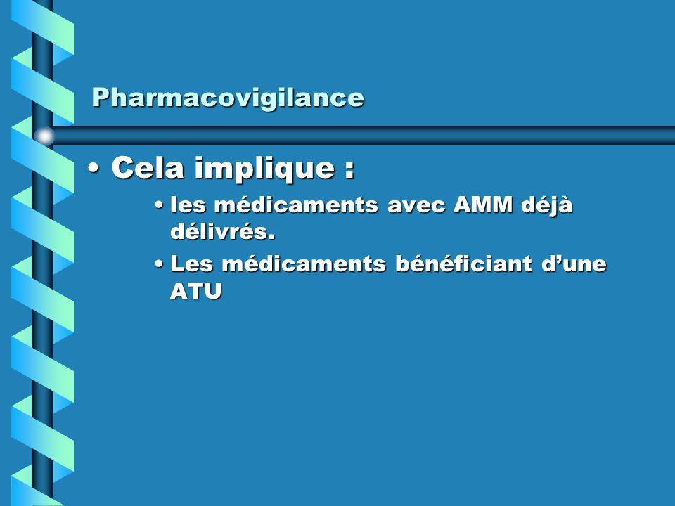 Cela implique : Pharmacovigilance