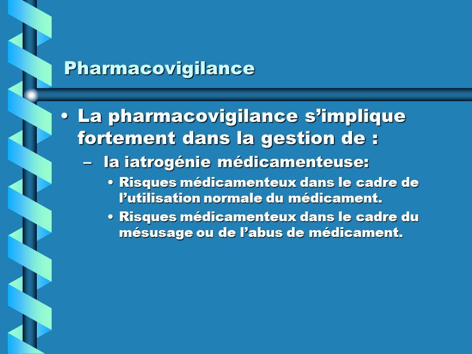 La pharmacovigilance s'implique fortement dans la gestion de :