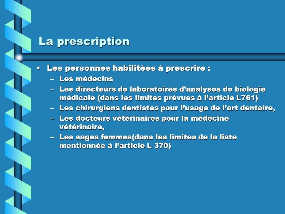 La prescription Les personnes habilitées à prescrire : Les médecins