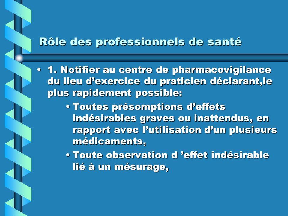 Rôle des professionnels de santé