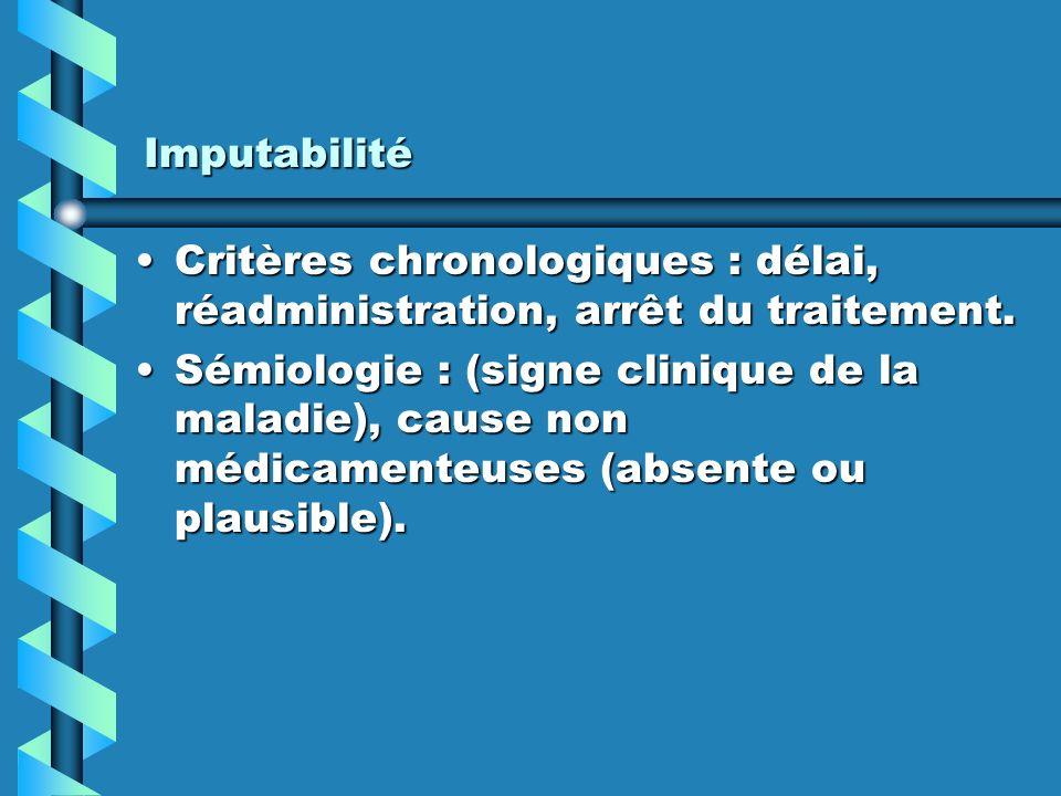 Imputabilité Critères chronologiques : délai, réadministration, arrêt du traitement.