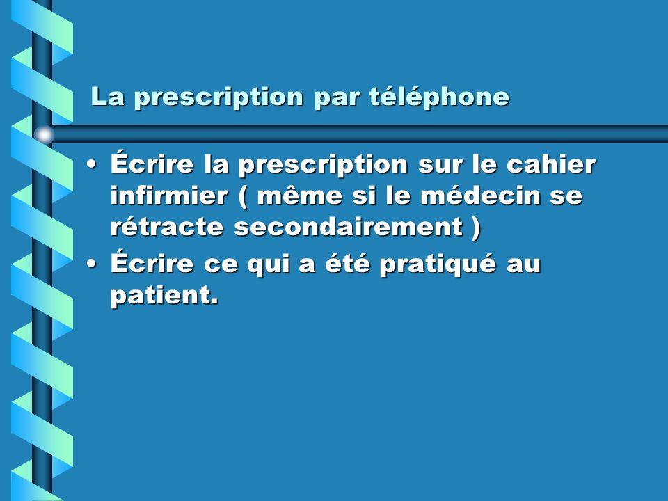 La prescription par téléphone