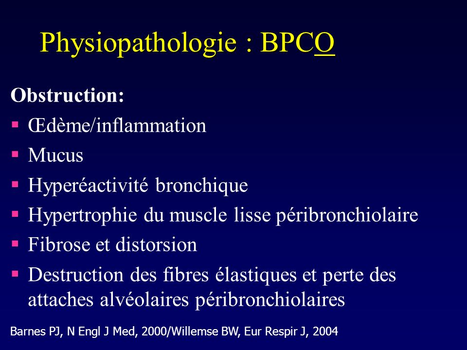 Physiopathologie : BPCO
