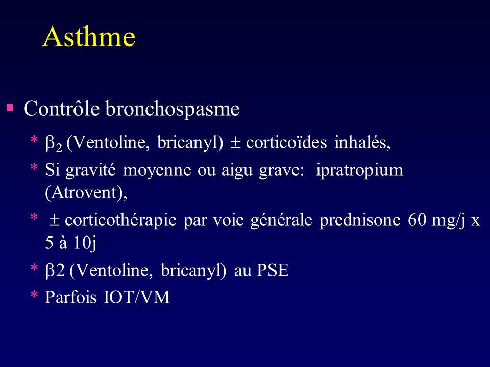 Asthme Contrôle bronchospasme