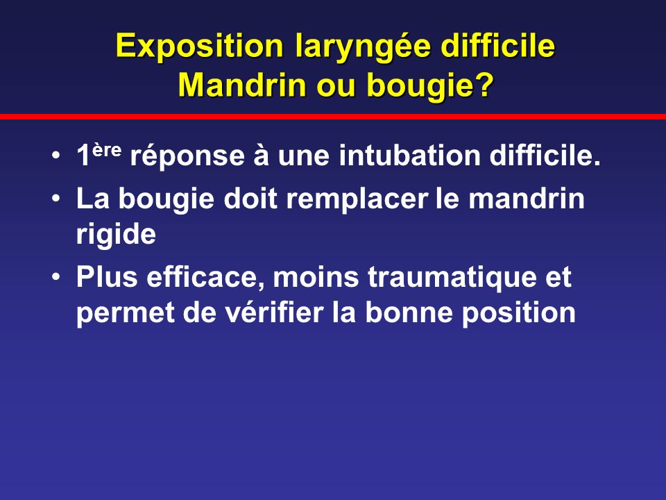 Exposition laryngée difficile Mandrin ou bougie