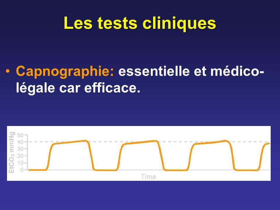 Les tests cliniques Capnographie: essentielle et médico-légale car efficace.