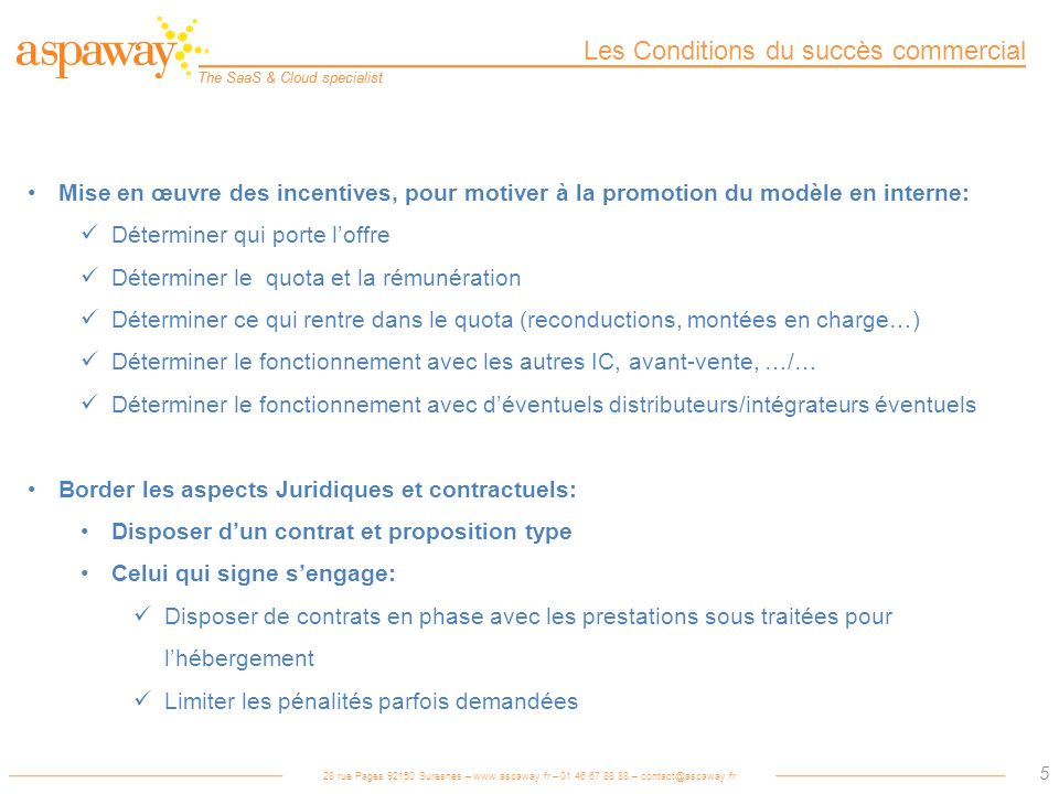 Les Conditions du succès commercial