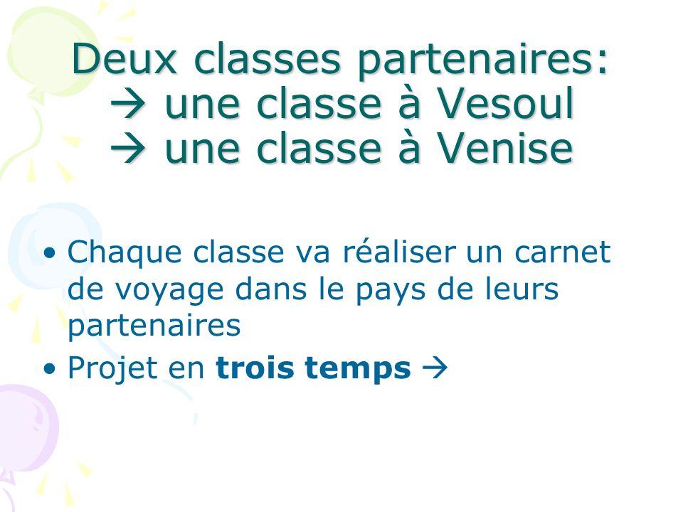 Deux classes partenaires:  une classe à Vesoul  une classe à Venise