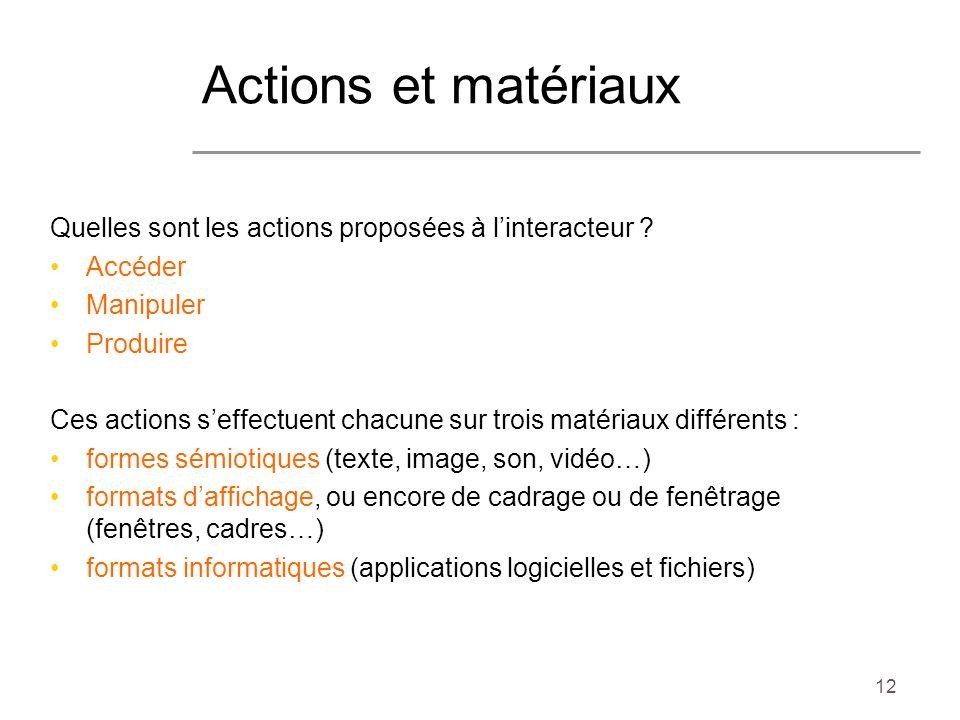 Actions et matériaux Quelles sont les actions proposées à l'interacteur Accéder. Manipuler. Produire.
