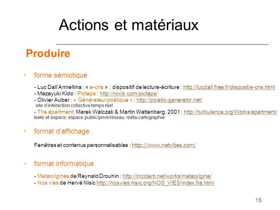Actions et matériaux Produire forme sémiotique format d'affichage