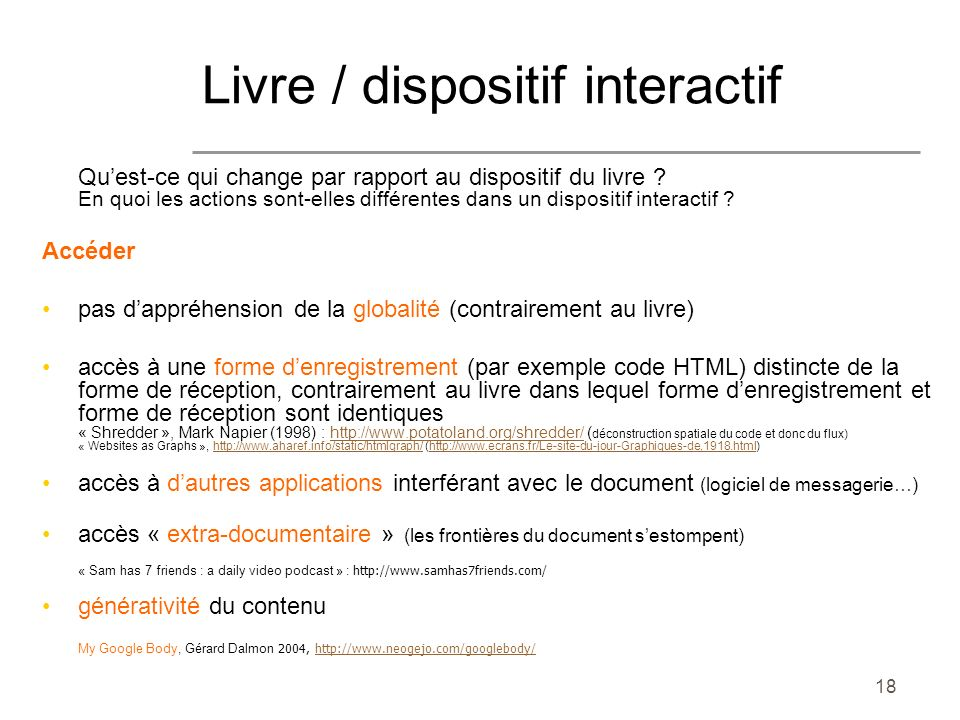 Livre / dispositif interactif