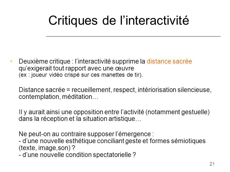 Critiques de l'interactivité