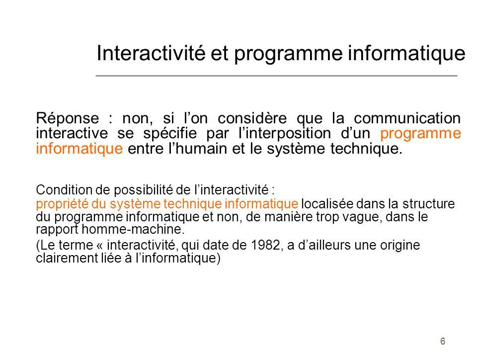 Interactivité et programme informatique