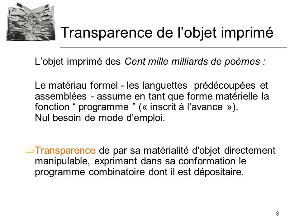 Transparence de l'objet imprimé