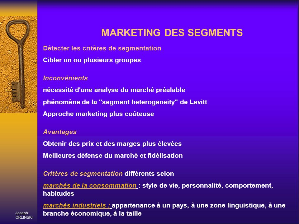 MARKETING DES SEGMENTS