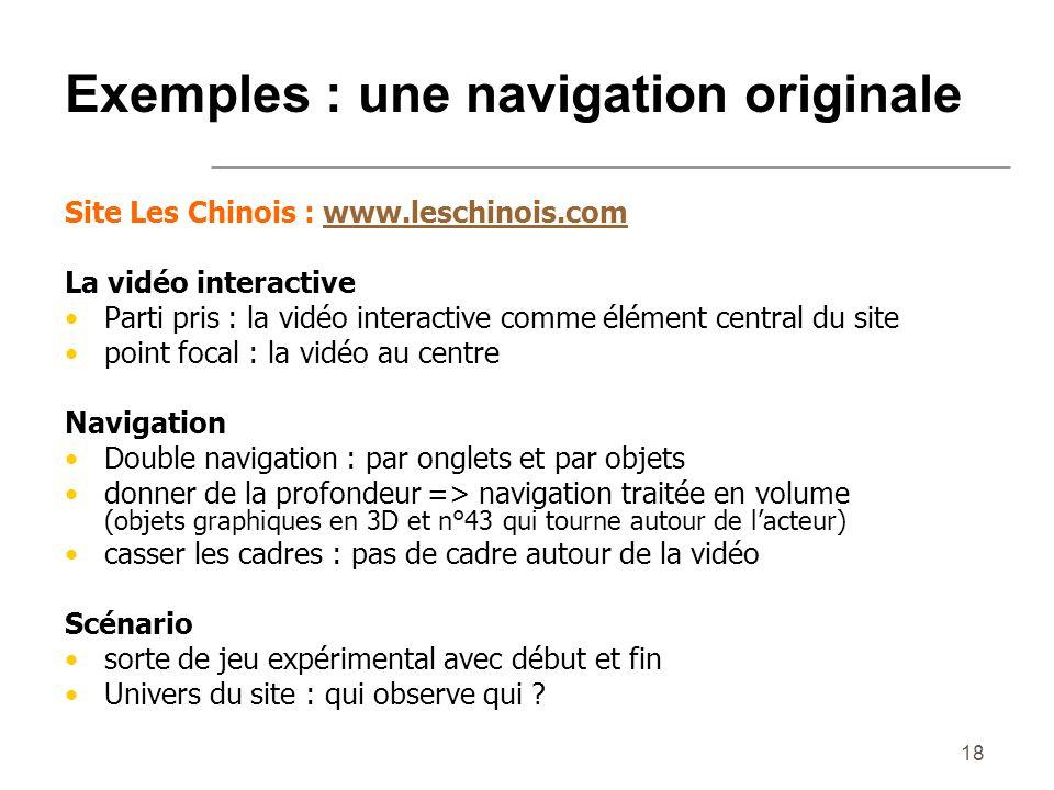 Exemples : une navigation originale