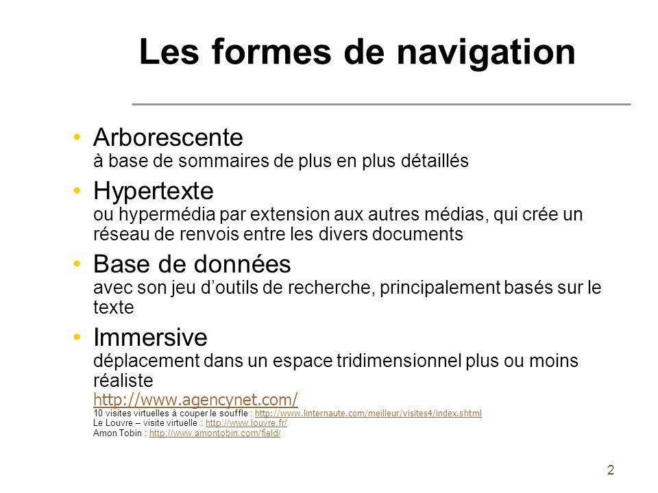 Les formes de navigation