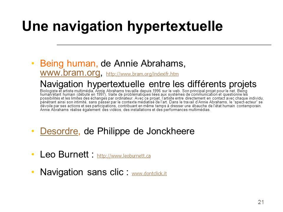 Une navigation hypertextuelle