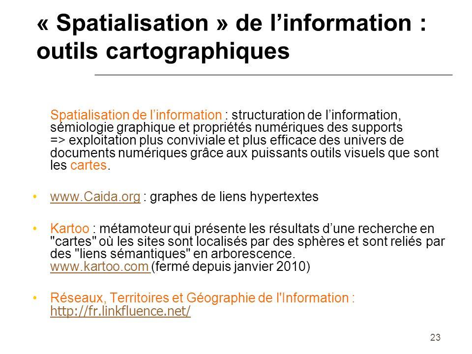 « Spatialisation » de l'information : outils cartographiques