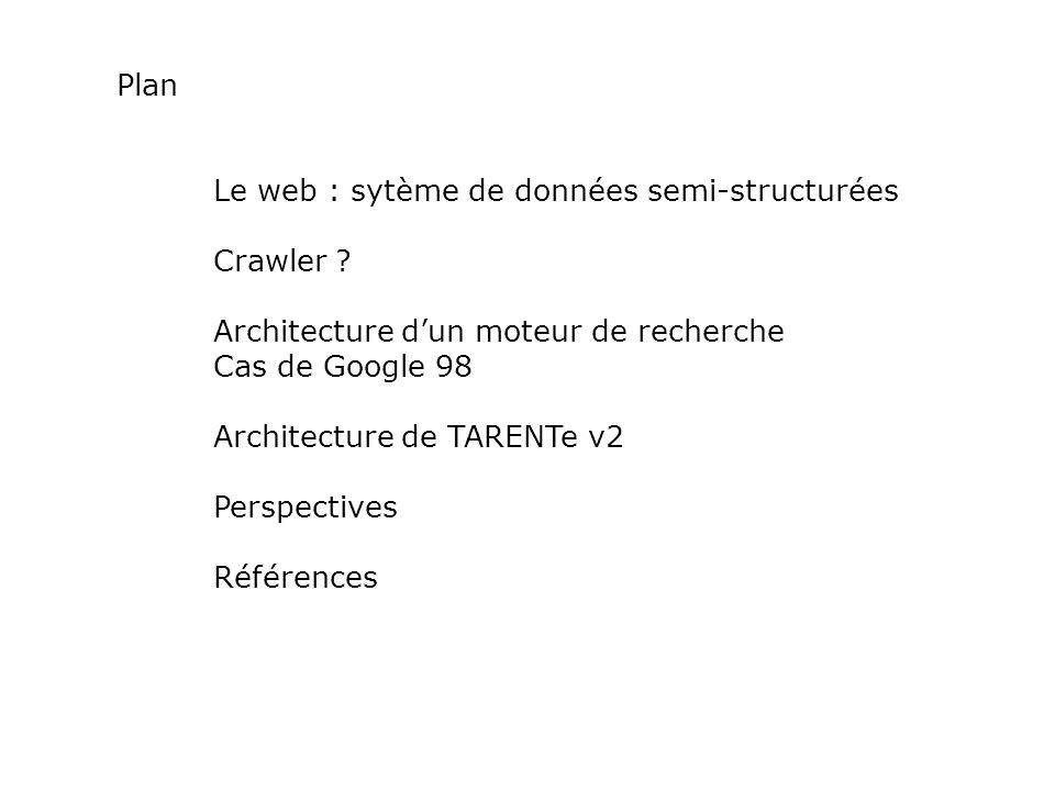 Plan Le web : sytème de données semi-structurées. Crawler Architecture d'un moteur de recherche.