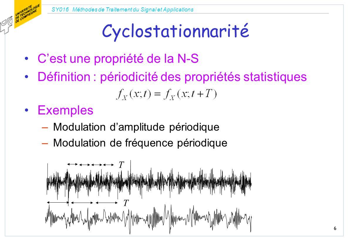 Cyclostationnarité C'est une propriété de la N-S